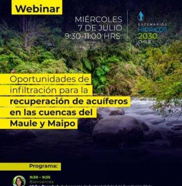 Webinar | Oportunidades de infiltración para la recuperación de acuíferos en las cuencas del Maipo y Maule